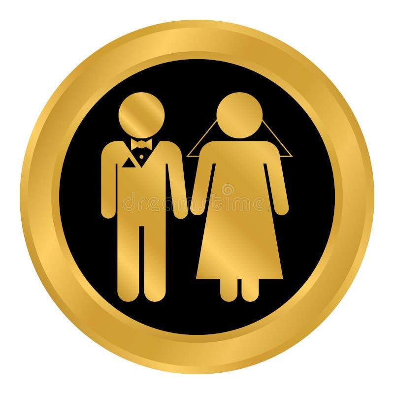 Botón de los pares de la boda ilustración del vector