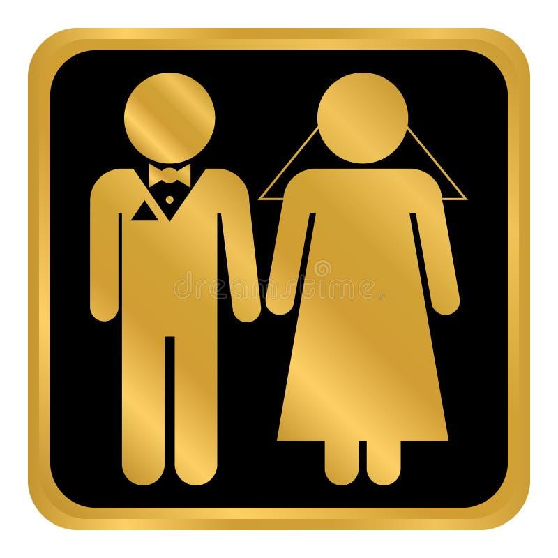 Botón de los pares de la boda stock de ilustración