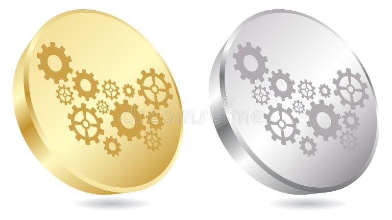Botón de oro del engranaje ilustración del vector