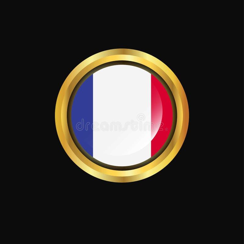 Botón de oro de la bandera de Francia ilustración del vector