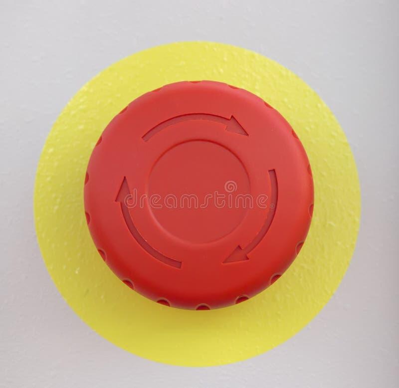 Botón de paro rojo de emergencia imagen de archivo