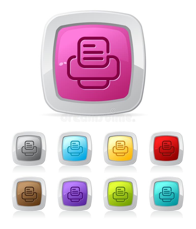 Botón de PrinterGlossy - ilustración del vector