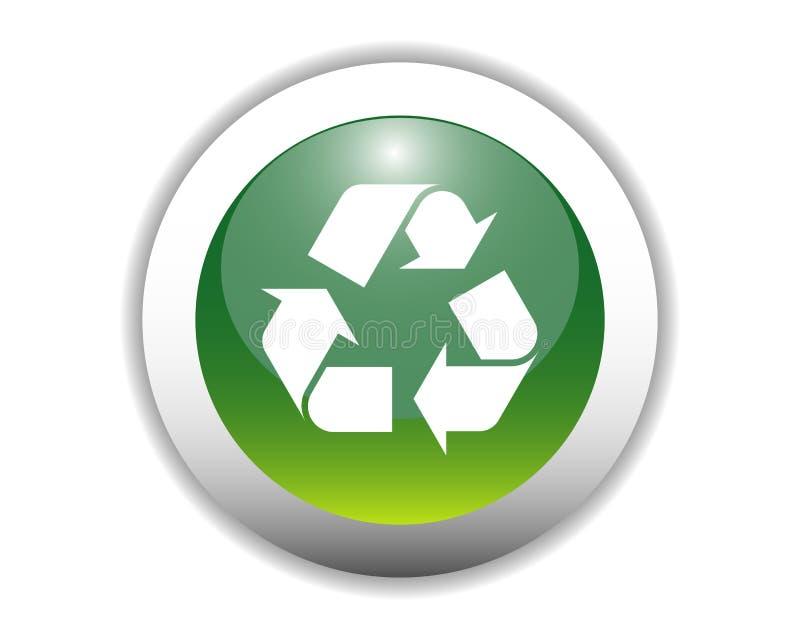 Botón de reciclaje brillante del icono stock de ilustración