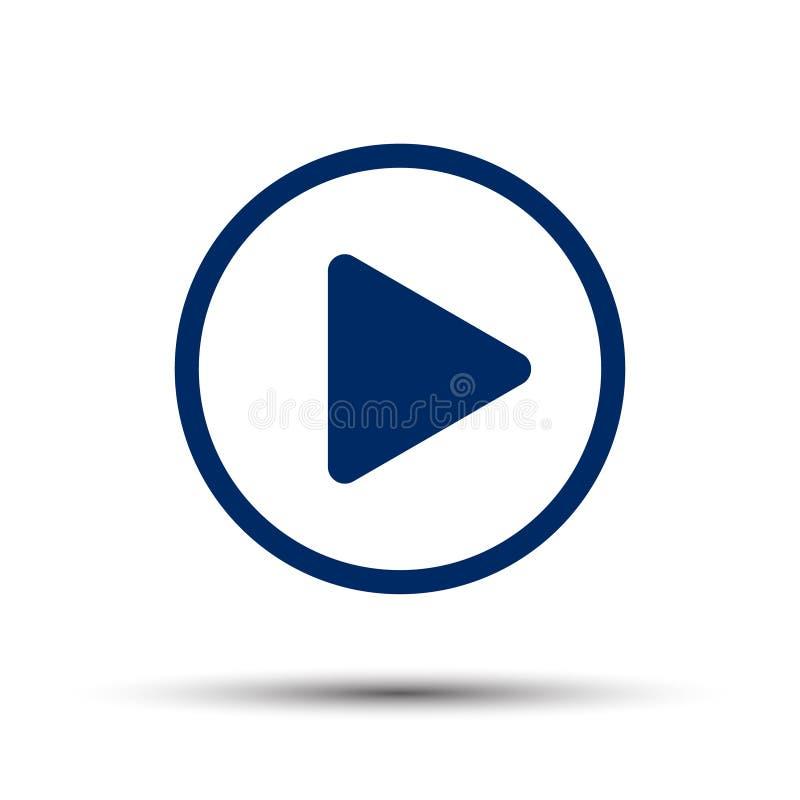 Botón de reproducción azul en un blanco fotos de archivo libres de regalías