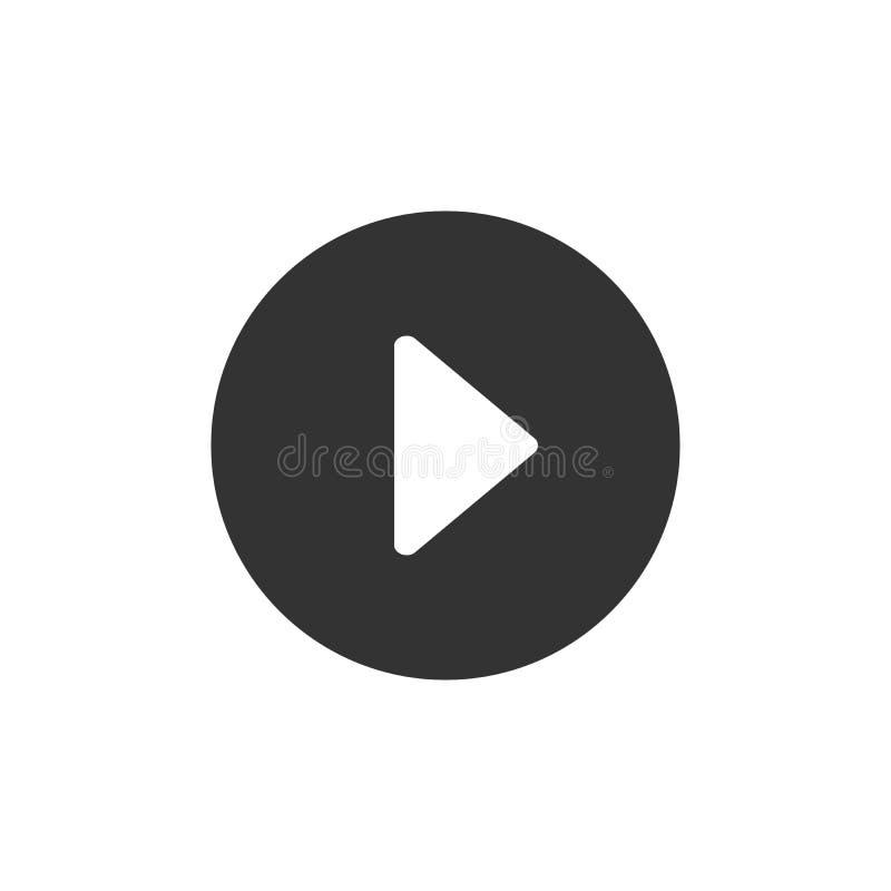 Botón de reproducción Icono blanco y negro del vector Aislado en el fondo blanco Ajustes para la web, el diseño del ui y otros el ilustración del vector
