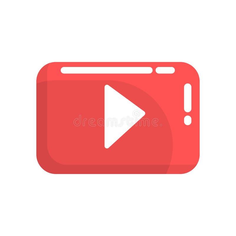 Botón de reproducción video rojo Internet o botón de youtube Ejemplo colorido del vector de la historieta stock de ilustración