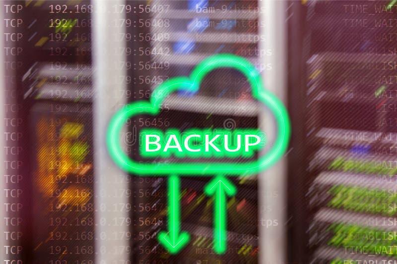Botón de reserva en fondo moderno del sitio del servidor Prevención de la pérdida de datos Recuperación de sistema fotos de archivo