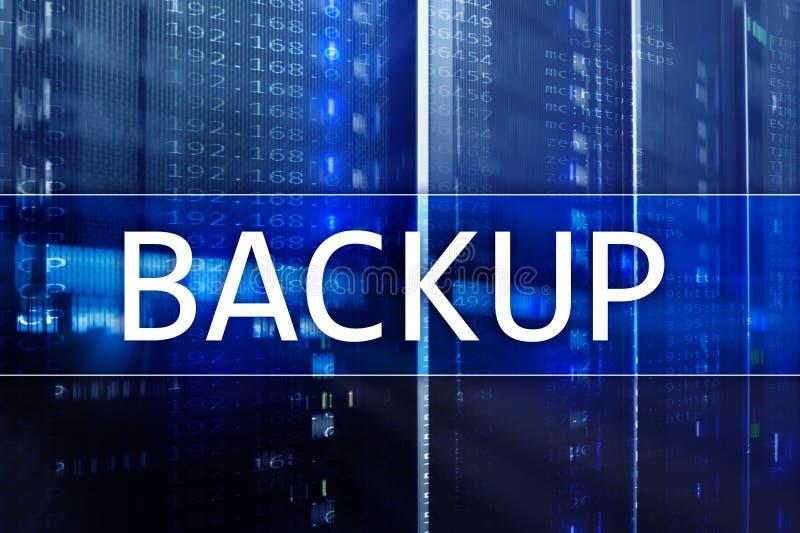 Botón de reserva en fondo moderno del sitio del servidor Prevención de la pérdida de datos Recuperación de sistema fotos de archivo libres de regalías