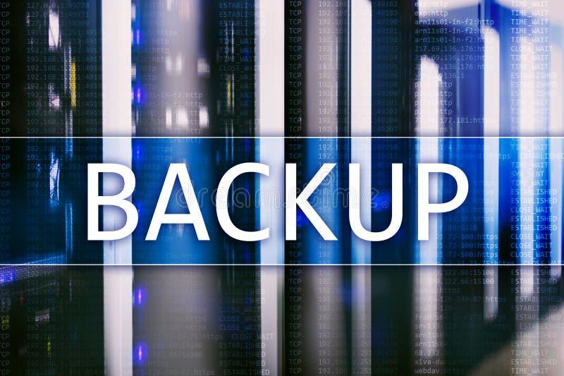 Botón de reserva en fondo moderno del sitio del servidor Prevención de la pérdida de datos Recuperación de sistema fotografía de archivo libre de regalías