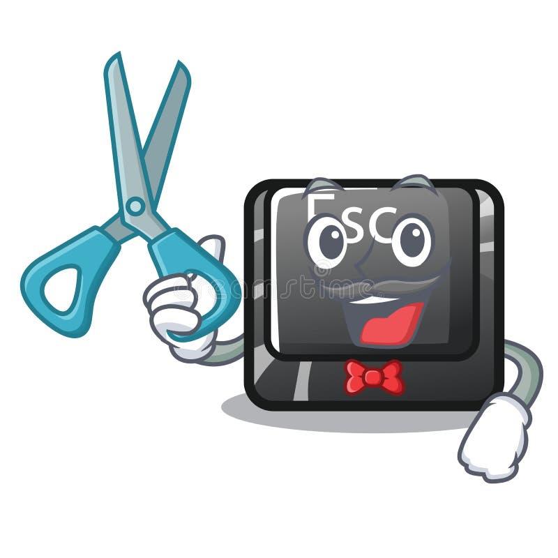 Botón de salida de la historieta del peluquero atado al ordenador ilustración del vector