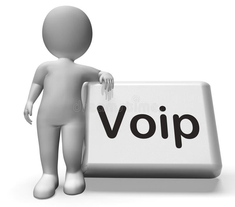Botón de Voip con voz del carácter sobre Internet ilustración del vector