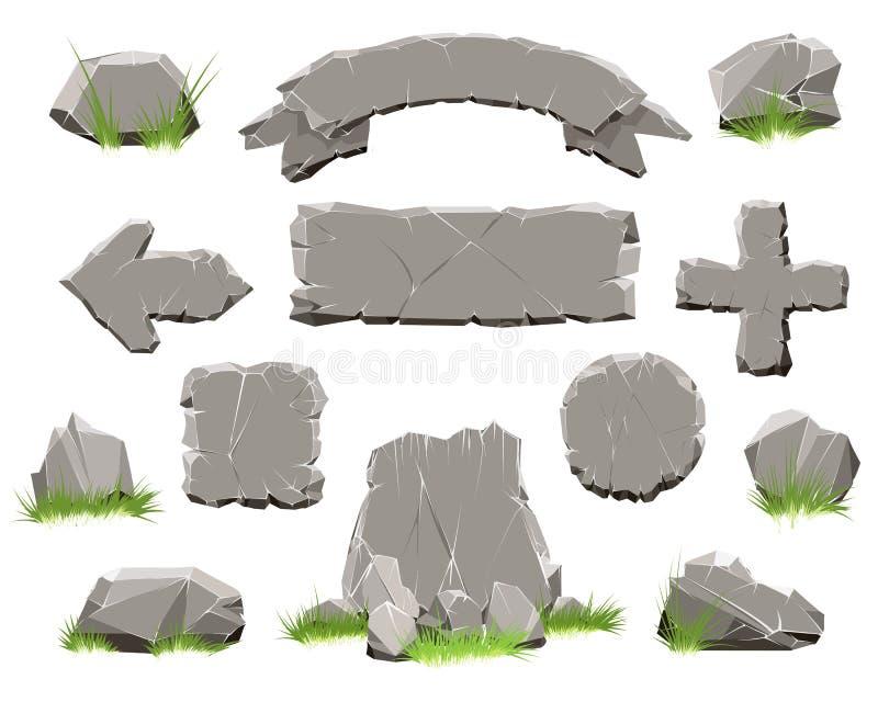 Botón del círculo de la roca, banderas de piedra stock de ilustración