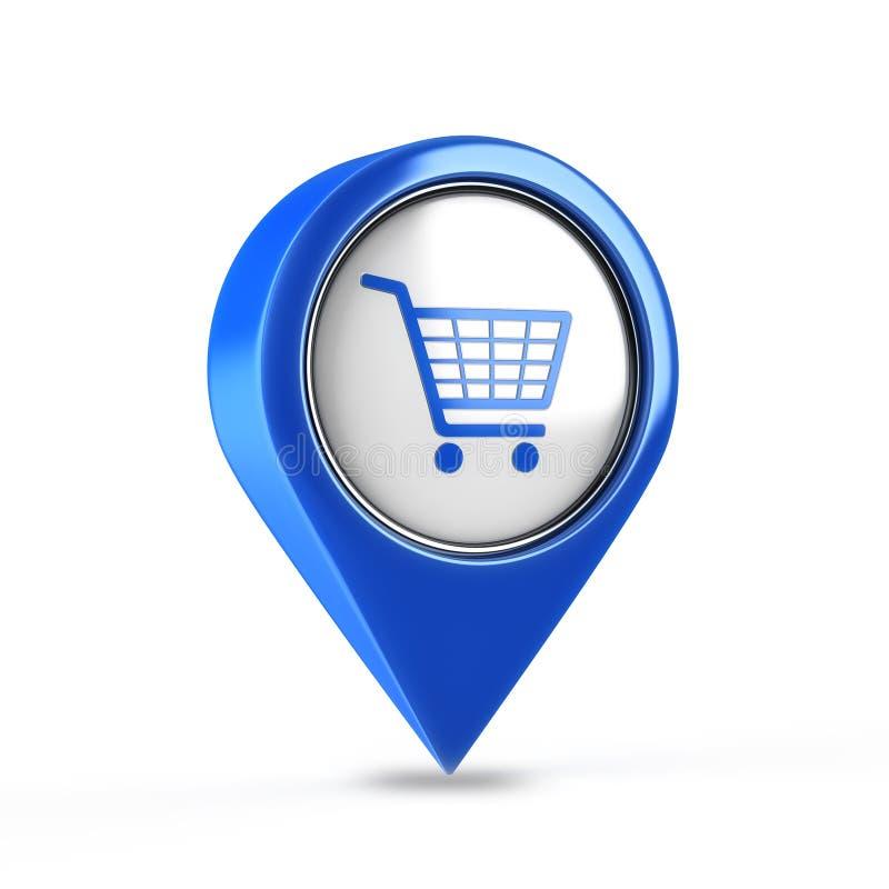 Botón del carro de compras 3d ilustración del vector