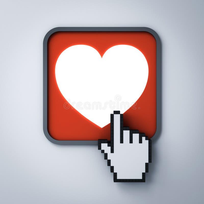 Botón del corazón del amor con el cursor de la mano del ordenador aislado en fondo blanco oscuro libre illustration