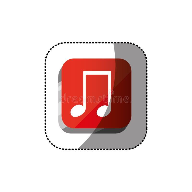 botón del cuadrado 3d del color de la etiqueta engomada con la nota musical ilustración del vector