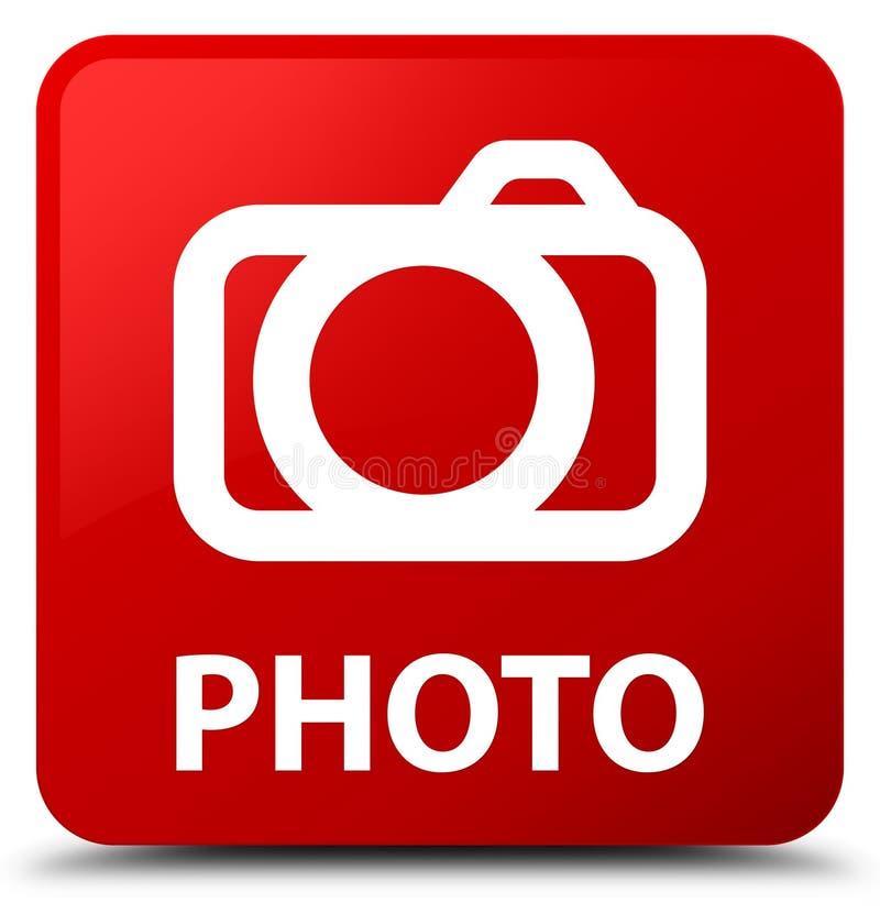 Botón del cuadrado rojo de la foto (icono de la cámara) libre illustration