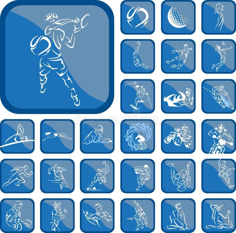 Botón del deporte stock de ilustración