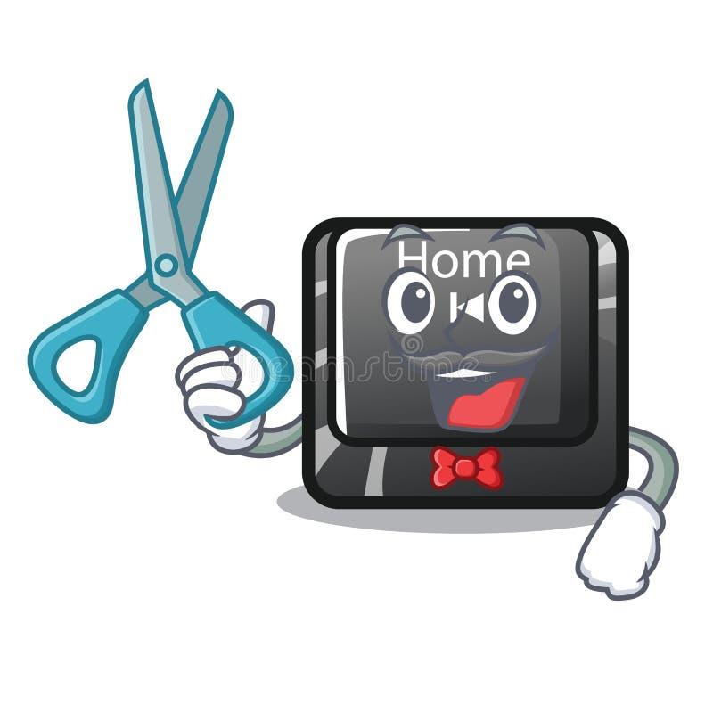 Botón del hogar del peluquero situado en el teclado del carácter stock de ilustración