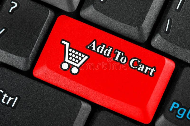Botón del icono del carro de compras fotografía de archivo