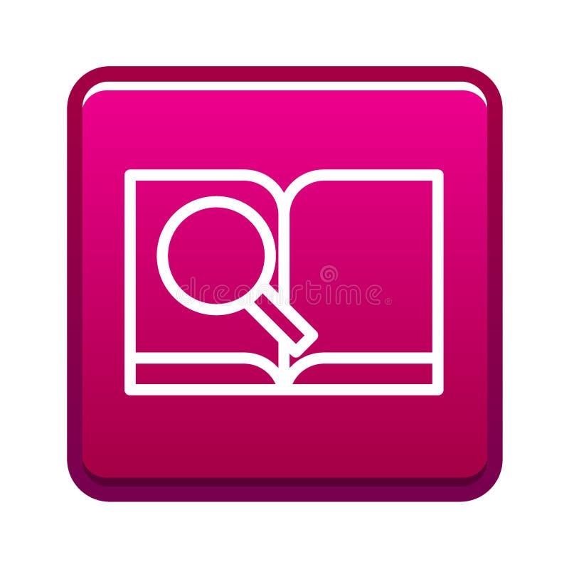 Botón del icono del libro de investigación stock de ilustración
