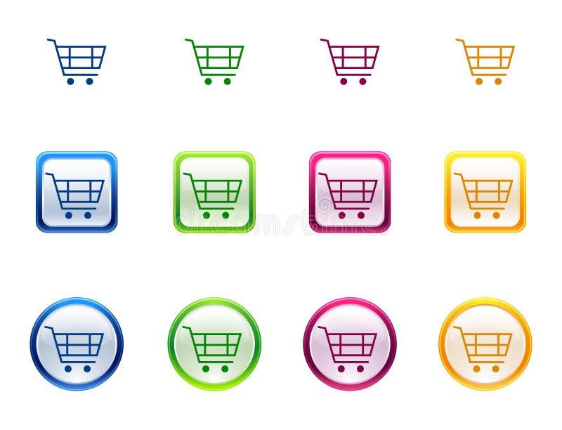 Botón del icono para el carro de compras ilustración del vector