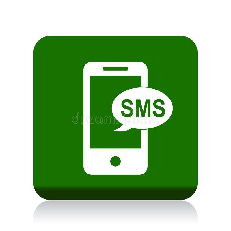 Botón del icono del SMS stock de ilustración
