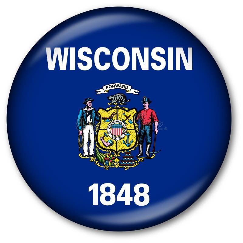 Botón del indicador del estado de Wisconsin ilustración del vector