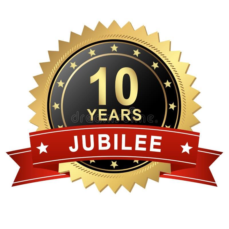 Botón del jubileo con la bandera - 10 AÑOS ilustración del vector