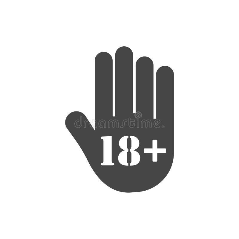 Botón del límite de edad, icono de la mano de la parada stock de ilustración