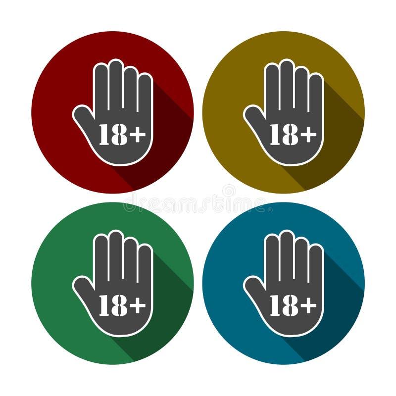Botón del límite de edad, icono de la mano de la parada ilustración del vector