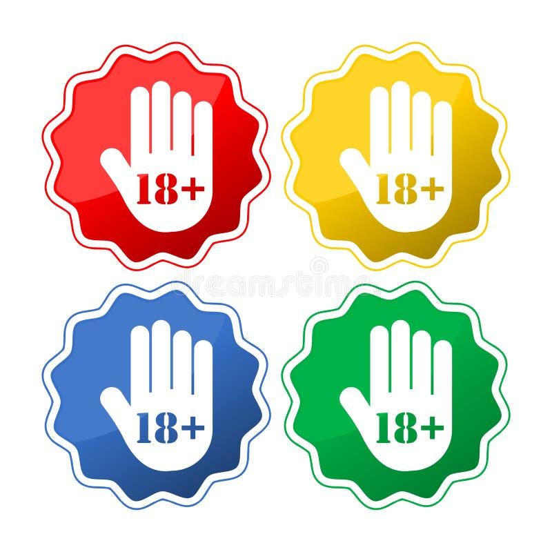 Botón del límite de edad, icono de la mano de la parada libre illustration