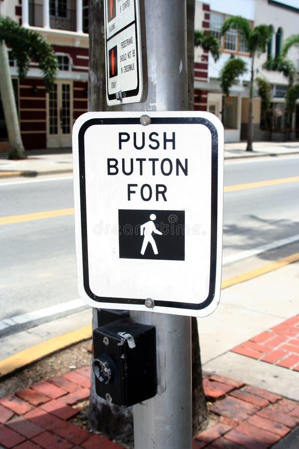 Botón del paso de peatones imagenes de archivo