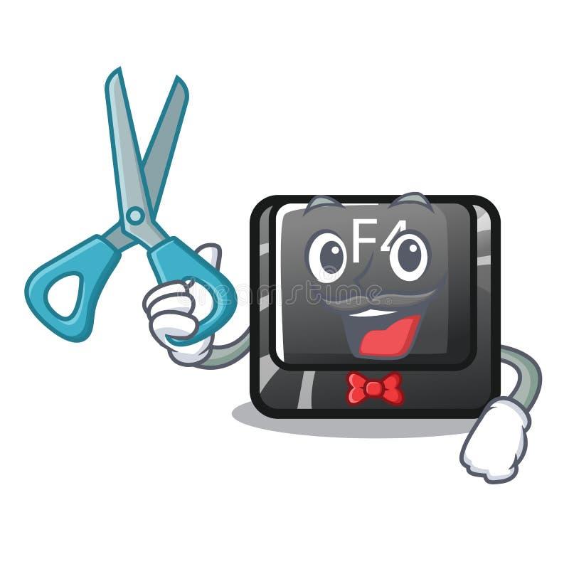 Botón del peluquero f4 instalado en el teclado de la historieta libre illustration