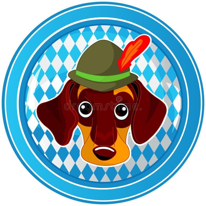 Botón del perro del círculo de Oktoberfest ilustración del vector