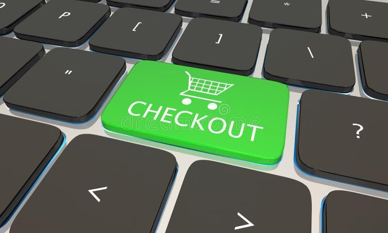 Botón del teclado del ordenador portátil del ordenador del pago y envío ilustración del vector