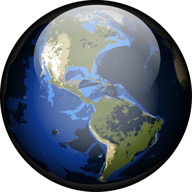 Botón del vidrio de Américas stock de ilustración