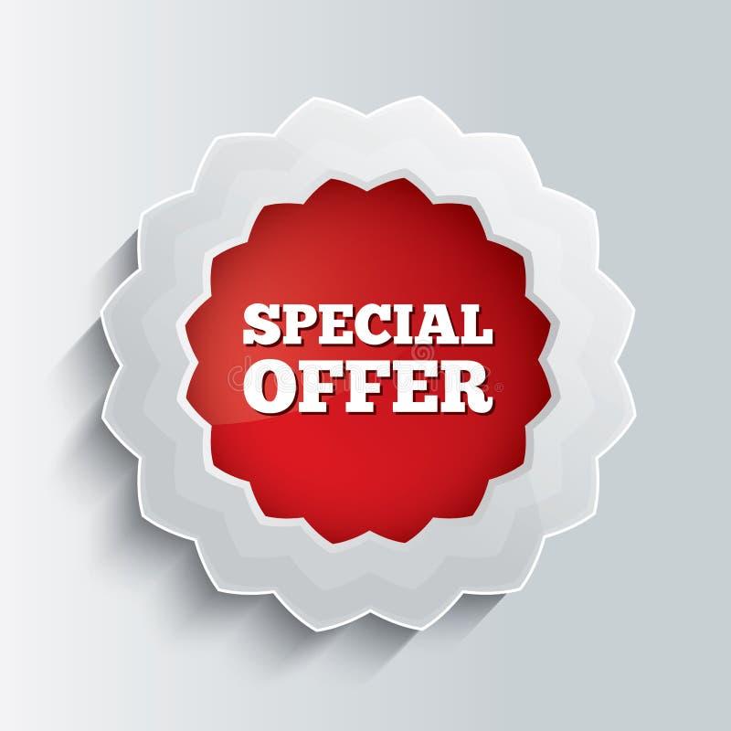 Botón del vidrio de la oferta especial. Ejemplo del vector. stock de ilustración