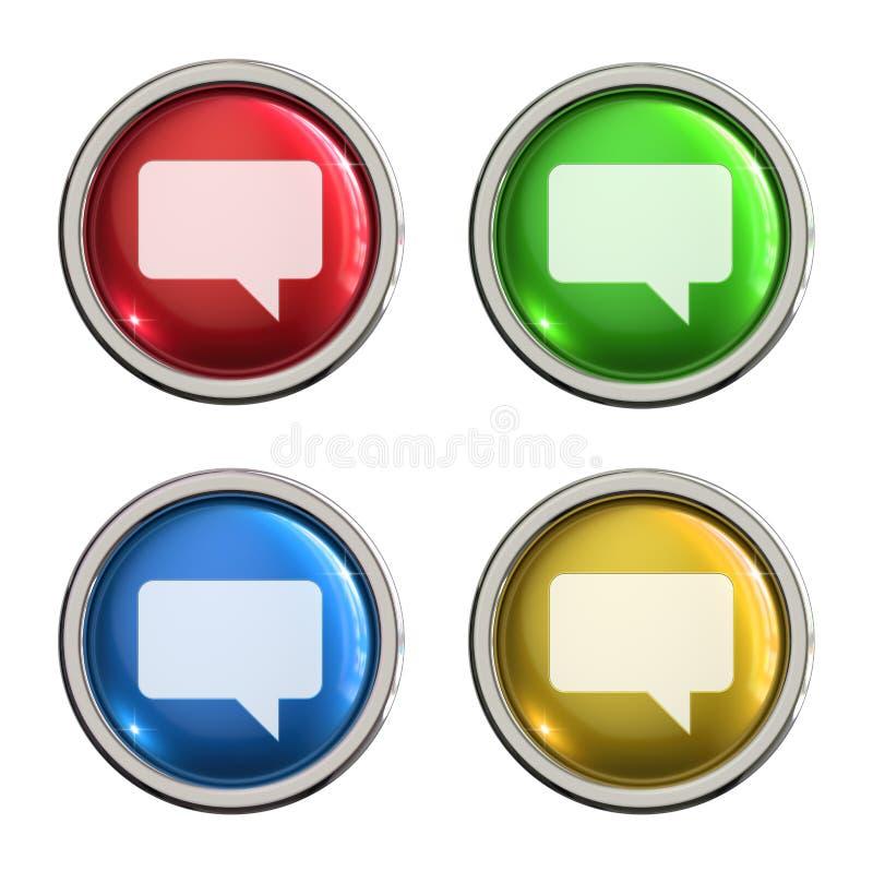 Botón del vidrio del icono del comentario ilustración del vector