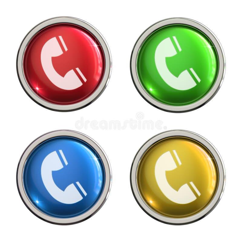 Botón del vidrio del icono del teléfono ilustración del vector