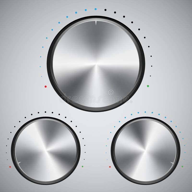 Botón del volumen con textura del metal ilustración del vector