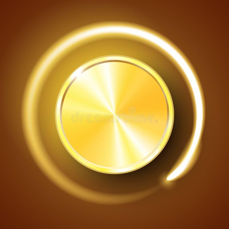 Botón del volumen, control sano, botón de la música con textura del metal y escala del número aislada en fondo libre illustration