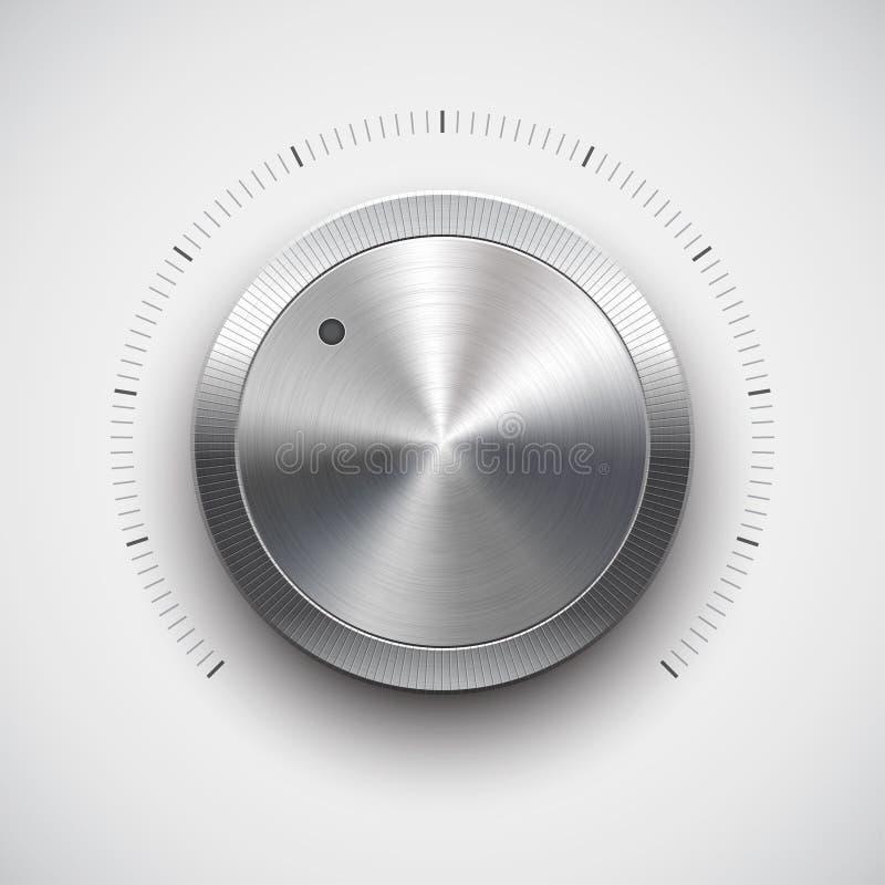 Botón del volumen (perilla) con la textura del metal (cromo) stock de ilustración