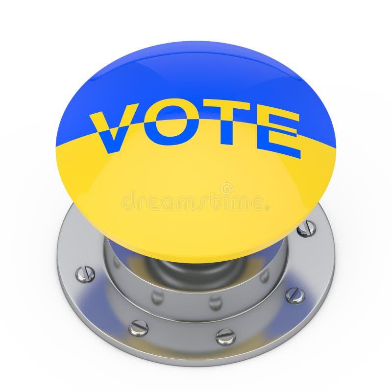 Botón del botón del voto como la bandera de Ucrania y muestra del voto representación 3d libre illustration