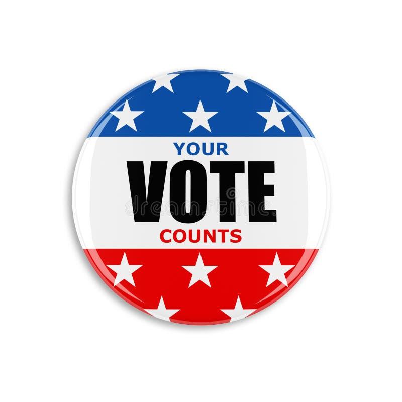 botón del voto de 3d los E.E.U.U. ilustración del vector