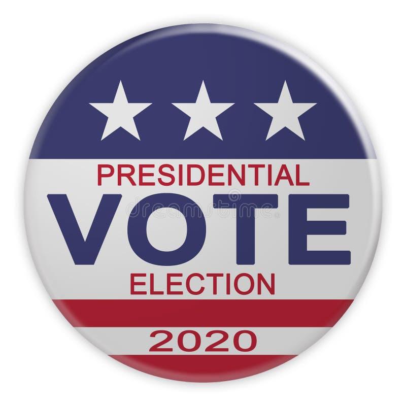 Botón del voto de la elección presidencial 2020 con la bandera de los E.E.U.U., ejemplo 3d en blanco ilustración del vector