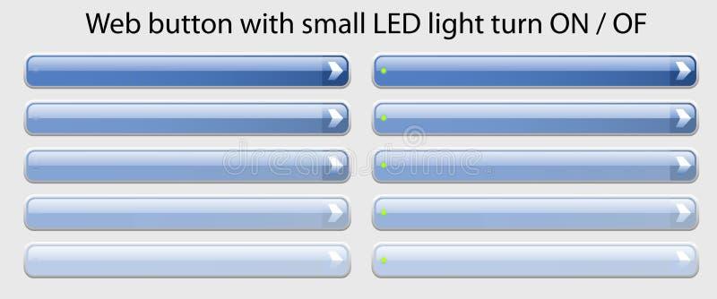 Botón del Web con la pequeña vuelta de la luz del LED ENCENDIDO-APAGADO stock de ilustración