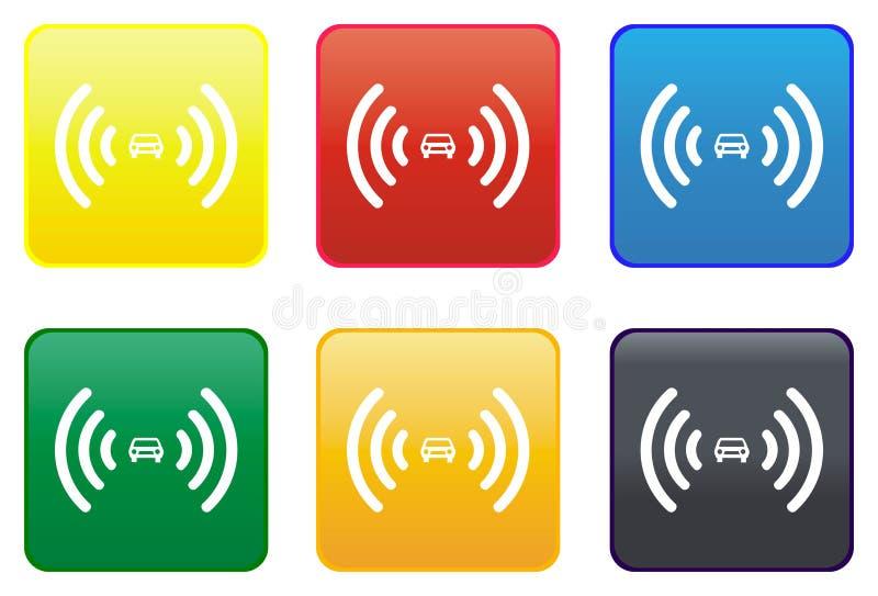 Botón del Web de la alarma del coche ilustración del vector