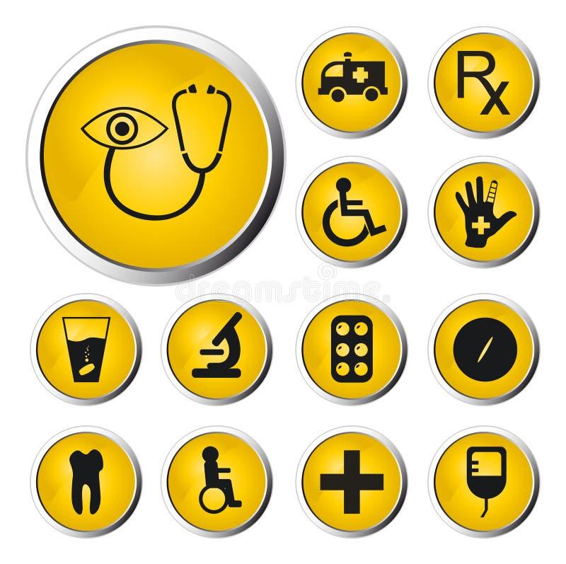Botón del Web de la medicina stock de ilustración