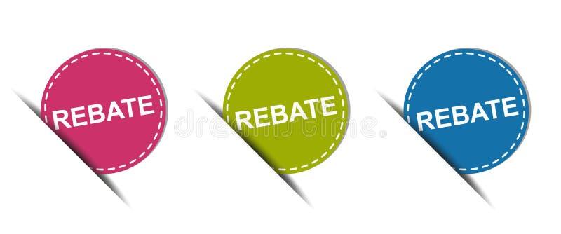 Botón del web de la rebaja - iconos coloridos del vector - aislado en blanco stock de ilustración