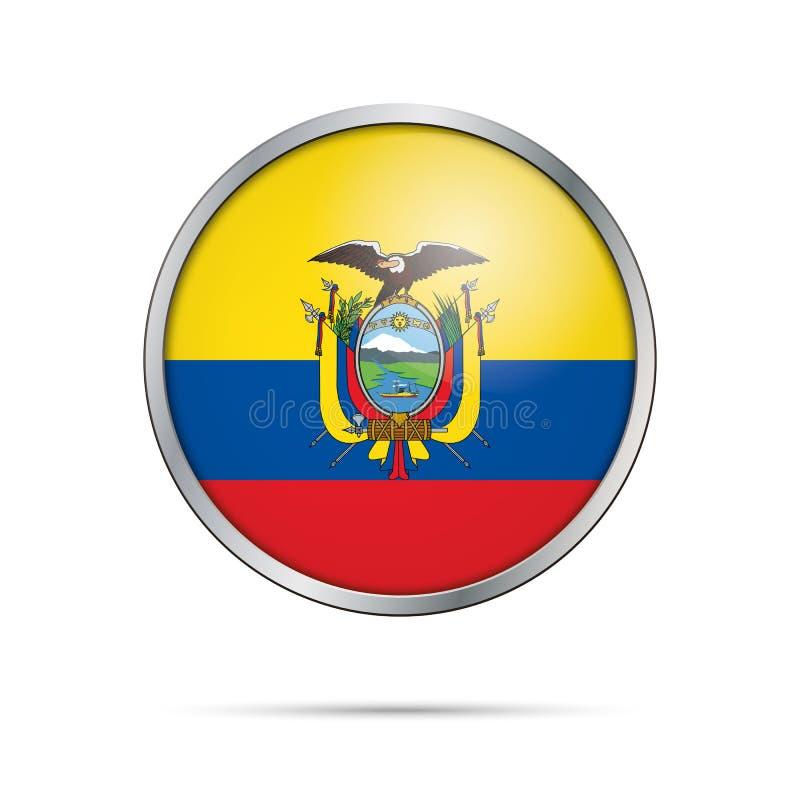Botón ecuatoriano de la bandera del vector Bandera de Ecuador en el estilo de cristal del botón ilustración del vector